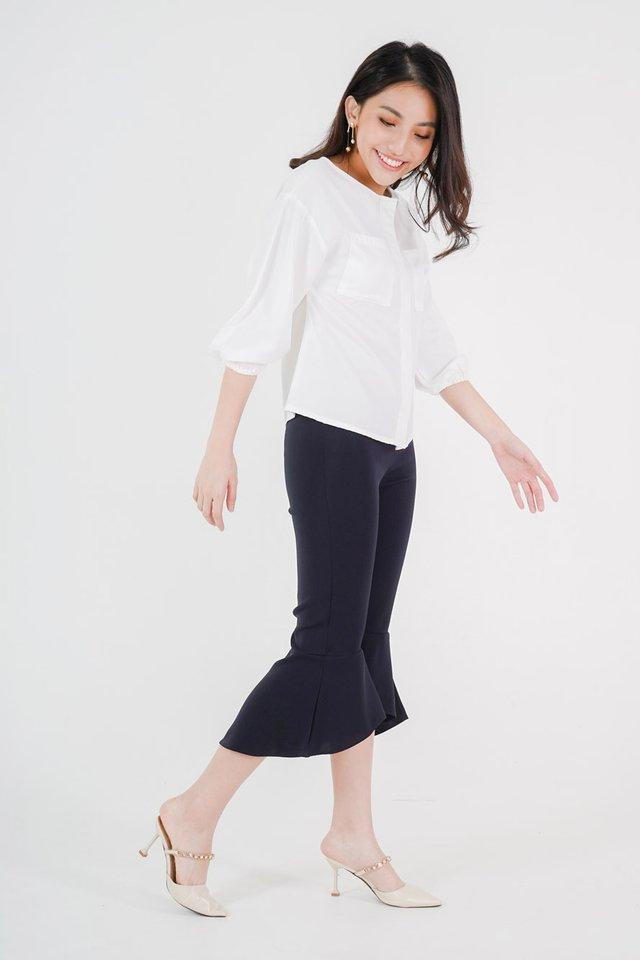 Clara Boxy Top + Jen Cropped Flare Pants (White & Navy)