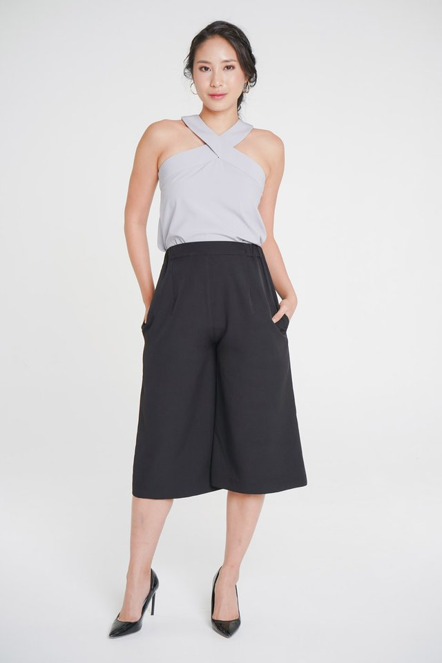 Maureen Crossover Top + Olivia Flexi Culottes (Periwinkle & Black)