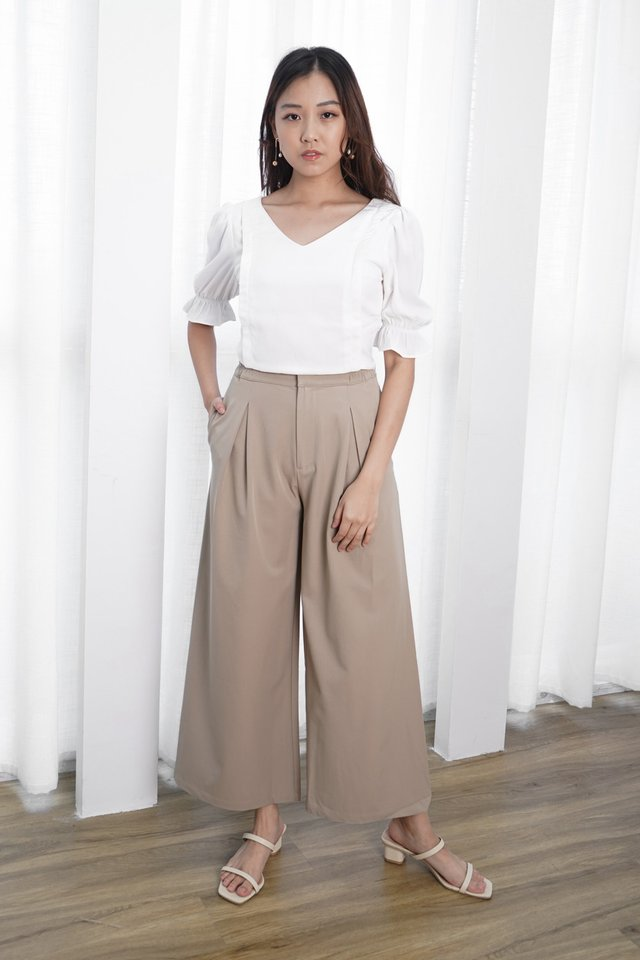 Emma Crop Top + Avery Pleated Pants (White & Sage)