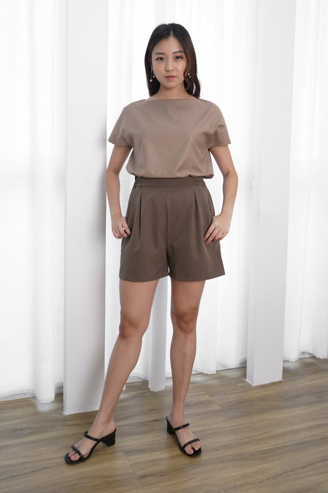 Harper Boxy Top + Avery Pleated Shorts (Khaki & Khaki)