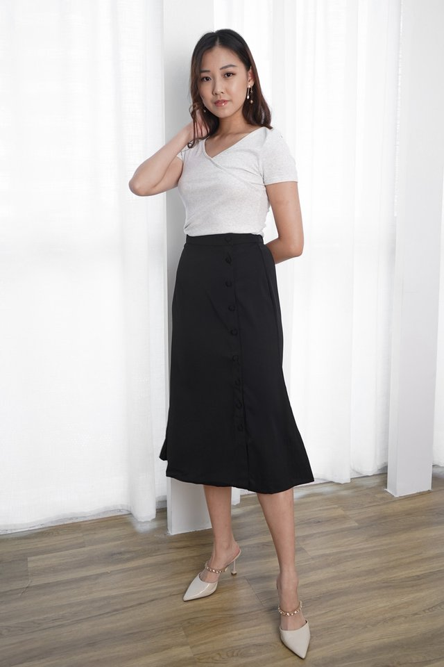 Suri Wrap Top + Claire Button Down Midi Skirt (Marble & Black)